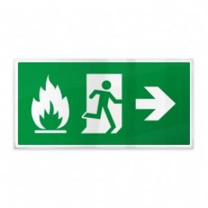 Omino e fiamma su verde dx