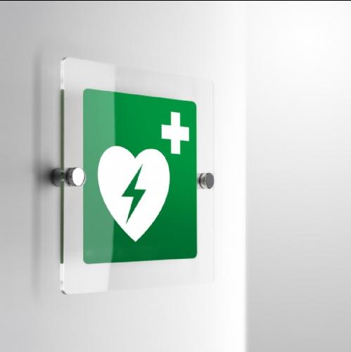Cartello Plex: Defibrillatore E010 monofacciale
