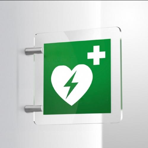 Cartello Plex: Defibrillatore E010 bifacciale